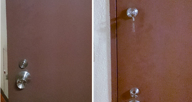 事務所ドアに鍵の取り付け
